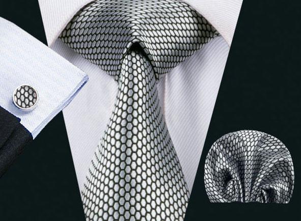 Elegantný kravatový set - kravata + manžety + vreckovka, vzor 15