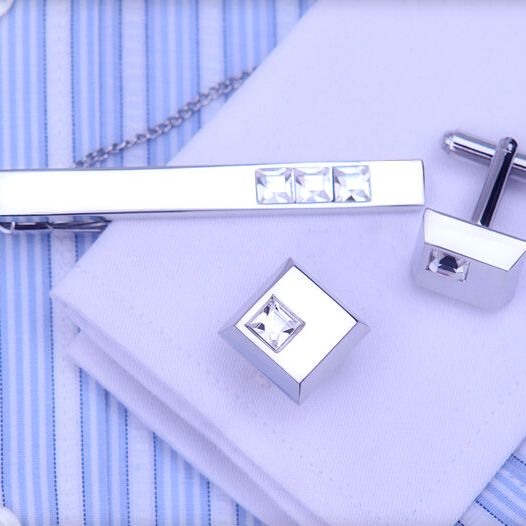 Elegantný pánsky set - manžety a kravatová spona s bielymi kryštálmi