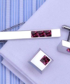 Elegantný pánsky set - manžety a kravatová spona s bordovými kryštálmi