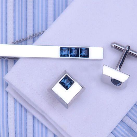 Elegantný pánsky set - manžety a kravatová spona s modrými kryštálmi
