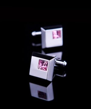 Elegantný pánsky set - manžety a kravatová spona s ružovými kryštálmi