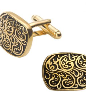 Luxusné manžetové gombíky, manžety s ornamentom v zlatej farbe