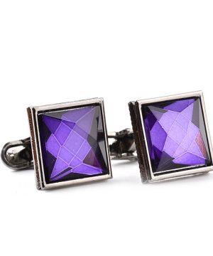 Luxusné manžetové gombíky, manžety s veľkým fialovým kryštálom