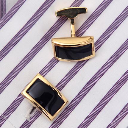 Luxusné manžetové gombíky, manžety v čierno-zlatom prevedení
