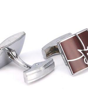 Luxusné manžetové gombíky, manžety v strieborno-bordovom prevedení