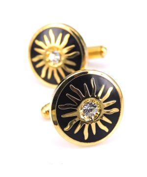 Luxusné manžetové gombíky, manžety v zlato-čiernej farbe
