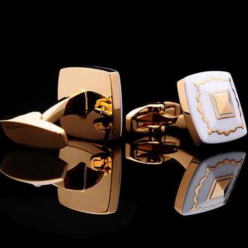 Luxusné manžetové gombíky, manžety v zlato-bielom dizajne