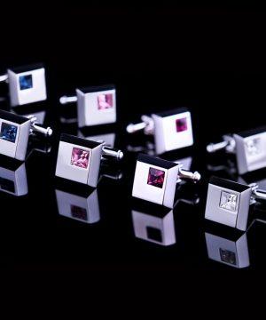 Luxusné manžetové gombíky, manžety s kryštálmi vo viac farbách