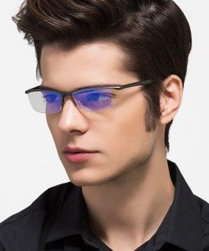 Luxusné pánske okuliare na počítač štýlovom tmavo-sivom spracovaní