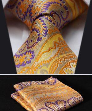Luxusný pánsky kravatový set - kravata + vreckovka, vzor 29