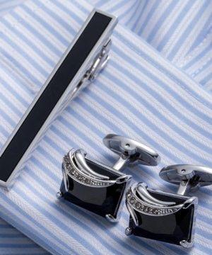 Luxusný pánsky set - manžetové gombíky a kravatová spona model07