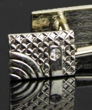 Luxusný pánsky set - manžety a kravatová spona v striebornej farbe