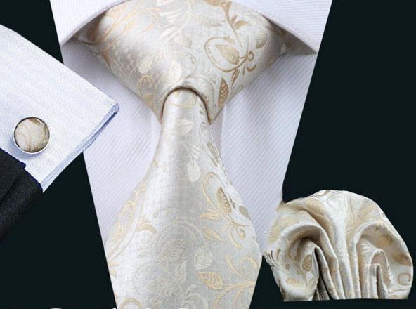 Elegantný kravatový set - kravata + manžety + vreckovka, vzor 10