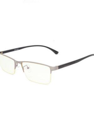 Štýlové pánske okuliare na počítač so sivo-čiernym hranatým rámom