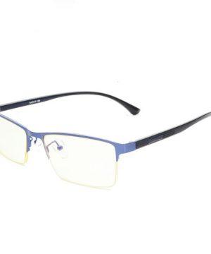 Štýlové pánske okuliare na počítač s modro-čiernym hranatým rámom