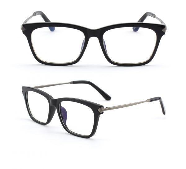 Odľahčené pánske okuliare na počítač s flexibilným sivo-čiernym rámom