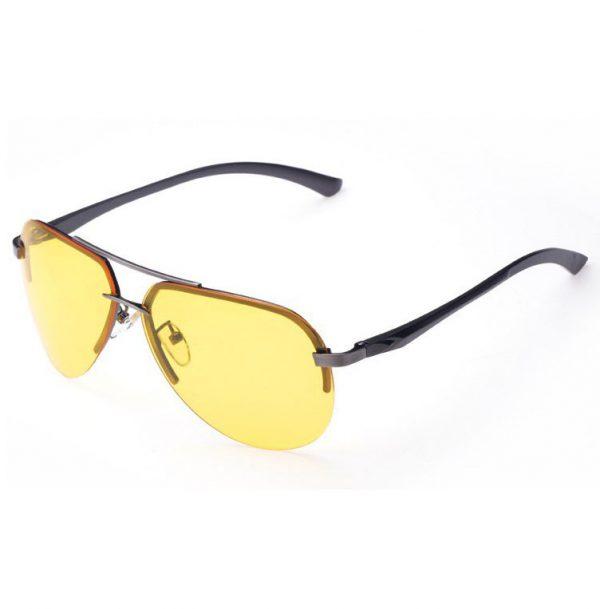 Luxusné pánske okuliare na jazdu v noci - pilotky so sivo-strieborným rámikom