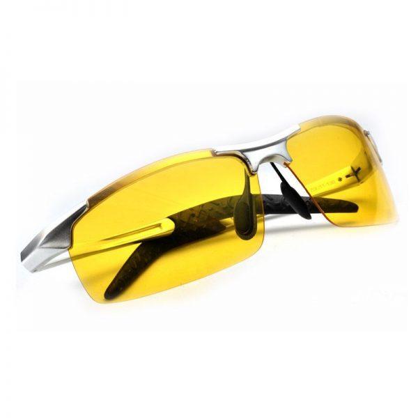 Luxusné pánske okuliare na jazdu v noci so strieborným rámikom