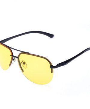 Luxusné pánske okuliare na jazdu v noci - pilotky s čiernym rámikom
