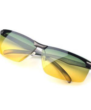 Kvalitné pánske okuliare na nočnú jazdu so strieborným rámikom