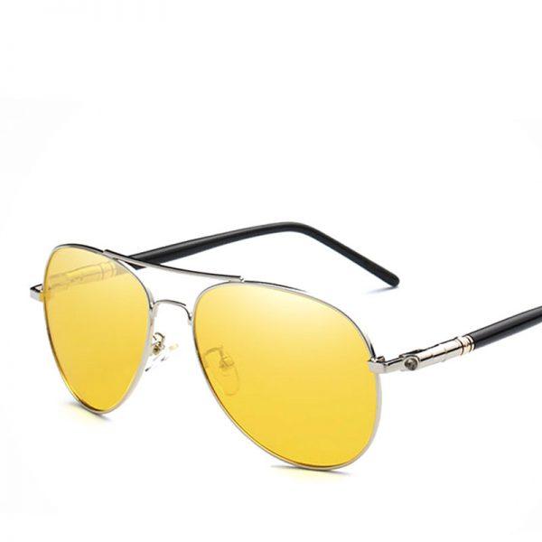 Pánske polarizované okuliare pre šoféra - pilotky so strieborným rámom