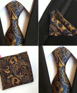 Pánsky hodvábny kravatový set - kravata + viazanka, model D