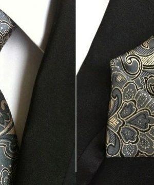 Pánsky hodvábny kravatový set - kravata + viazanka, model E