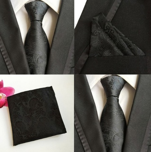 Pánsky hodvábny kravatový set - kravata + viazanka, model G