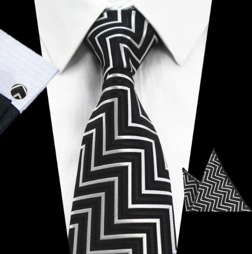 Pánsky kravatový set - kravata + manžety + vreckovka s čiernym vzorom