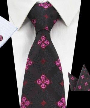 Pánsky kravatový set - kravata + manžety + vreckovka s ružovým vzorom