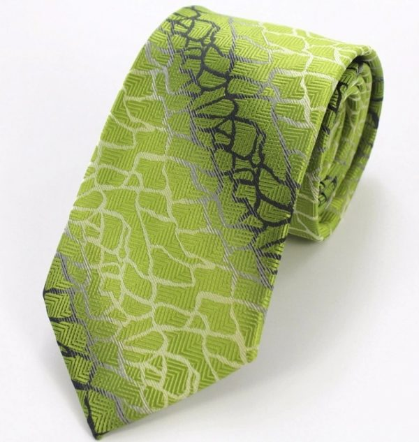 Pánsky kravatový set - kravata + manžety + vreckovka so zeleným vzorom