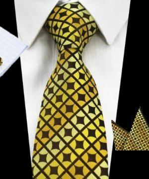 Pánsky kravatový set - kravata + manžety + vreckovka v žltej farbe