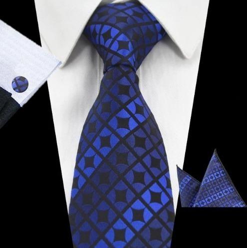 Pánsky kravatový set - kravata + manžety + vreckovka v modrej farbe