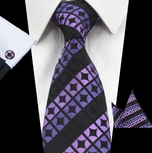 Pánsky kravatový set - kravata + manžety + vreckovka vo fialovej farbe