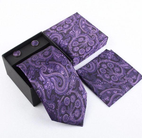 Pánsky kravatový set - kravata + manžety + vreckovka_model 4