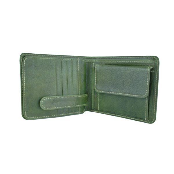 Peňaženka z prírodnej kože v zelenej farbe, ručne tamponovaná (5)