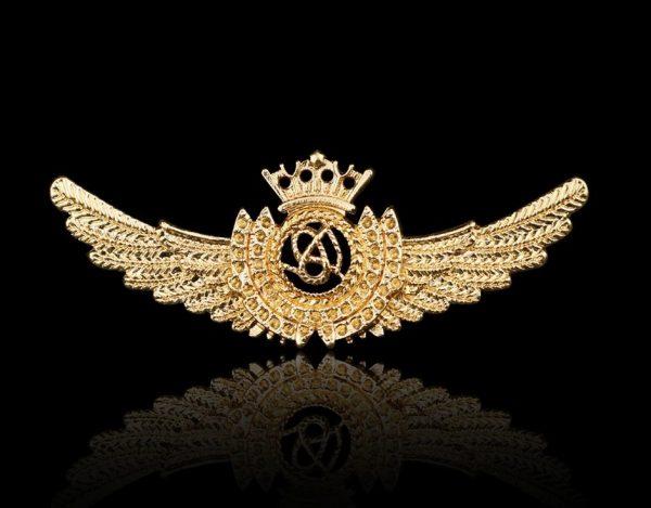 Prepracovaná pánska brošňa na šaty - krídla v zlatej farbe