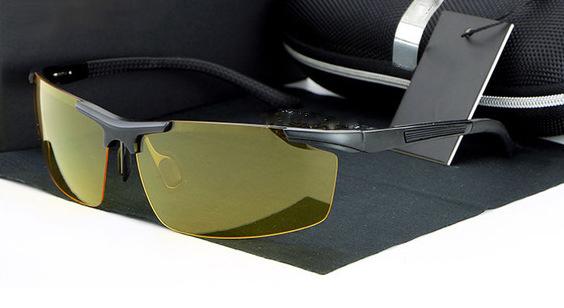 Štýlové pánske polarizované okuliare pre šoférov na noc a do hmly - čierne 71c01f9e016