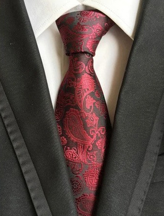 Spoločenská pánska viazanka s luxusným vzorom v červenej farbe