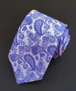 Spoločenská pánska viazanka s luxusným vzorom v modrej farbe