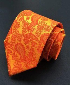Spoločenská pánska viazanka s luxusným vzorom v pomarančovej farbe