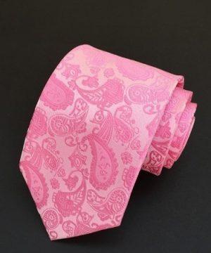 Spoločenská pánska viazanka s luxusným vzorom v ružovej farbe