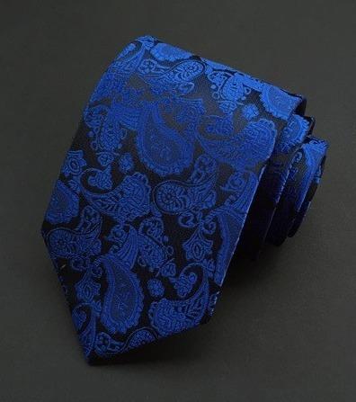 Spoločenská pánska viazanka s luxusným vzorom v tmavo modrej farbe