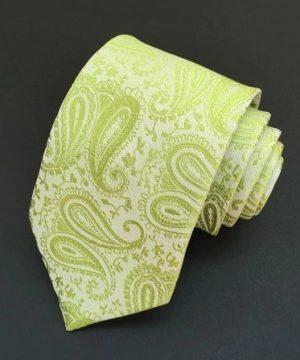 Spoločenská pánska viazanka s luxusným vzorom v zelenej farbe