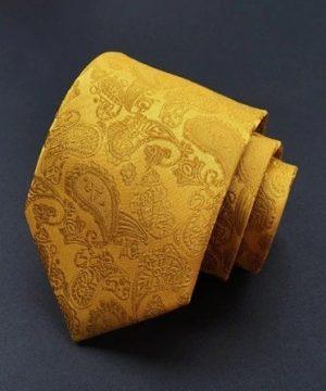 Spoločenská pánska viazanka s luxusným vzorom v zlatej farbe