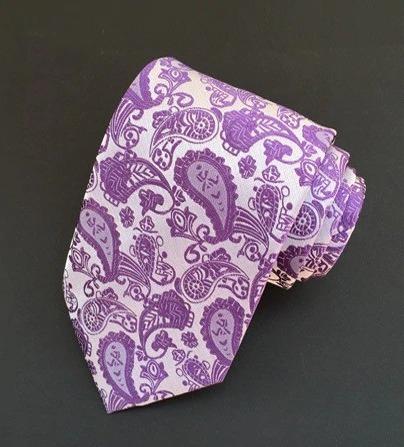 Spoločenská pánska viazanka s luxusným vzorom vo fialovej farbe