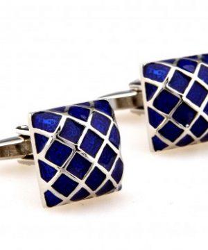 Strieborné manžetové gombíky, manžety s prepracovaným modrým smaltovaním