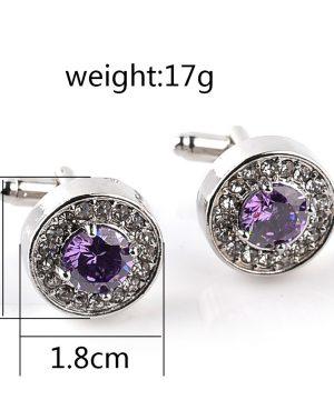 Strieborné manžetové gombíky, manžety v kruhovom tvare s fialovým kryštálom