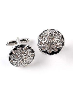 Strieborné manžetové gombíky, manžety v kruhovom tvare s kryštálikmi