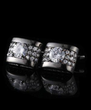 Strieborné manžetové gombíky, manžety v luxusnom dizajne s kryštálmi